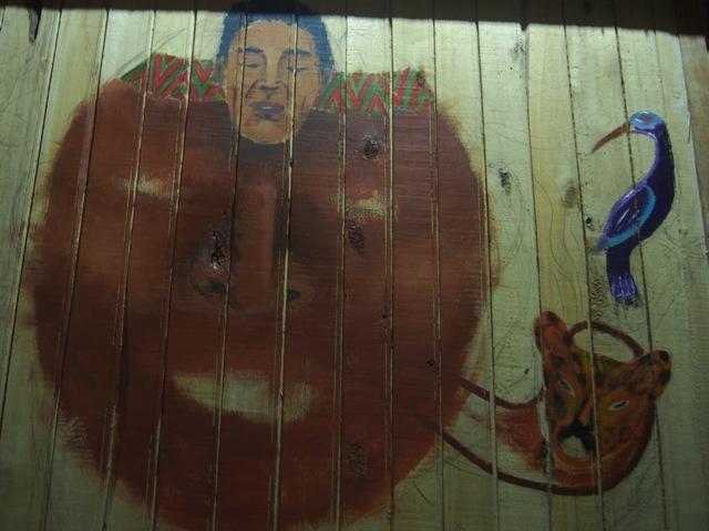 Malowidło w chacie szamana, Amazonia, Peru